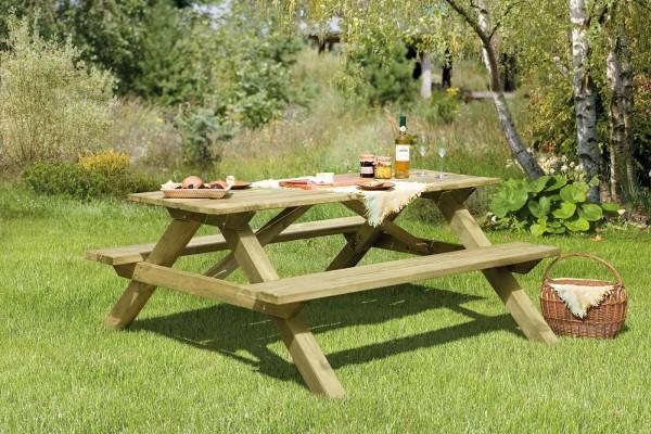 ELLA Picknicktisch rechteckig | ca. 180 x 170 x 75 cm, kdi Grün